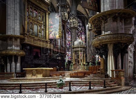 Milan, Italy - May 16, 2017: Inside Old Milan Cathedral Or Duomo Di Milano. It Is Famous Catholic Ch