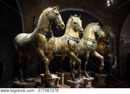 Venice, Italy - May 21, 2017: Ancient Bronze Horses Inside Basilica Di San Marco In Venice. Famous Q