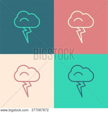 Pop Art Line Storm Icon Isolated On Color Background. Cloud And Lightning Sign. Weather Icon Of Stor