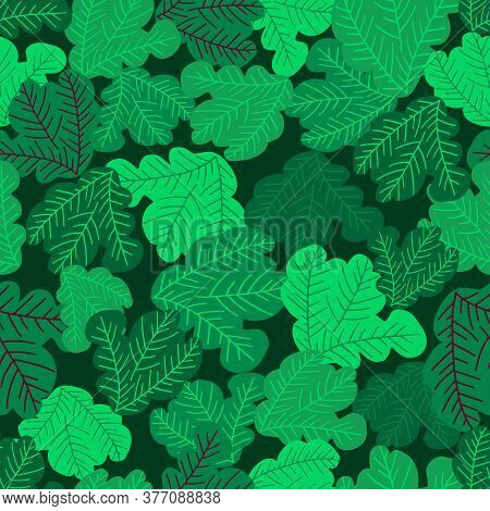 Vector Seamless Colorful Pattern With Eco Friendly Green Salad Leaves In Lines.