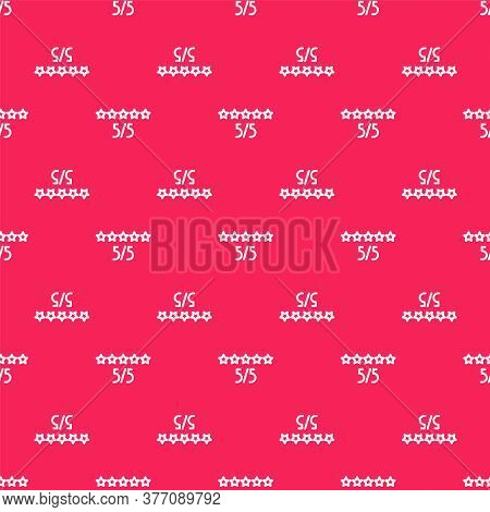 White Line Consumer Or Customer Product Rating Icon Isolated Seamless Pattern On Red Background. Vec