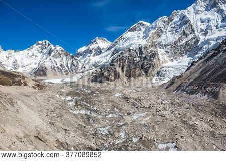 The Khumbu Glacier En Route To Everest Base Camp. Himalayan Mountains, Nepal