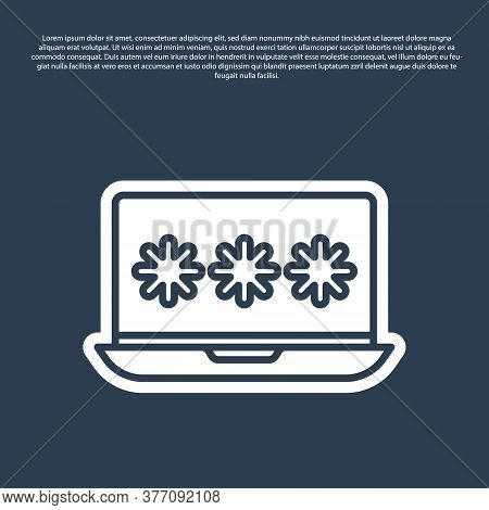 Blue Line Laptop With Password Notification Icon Isolated On Blue Background. Security, Personal Acc