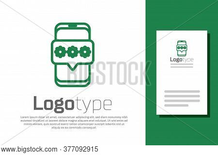 Green Line Mobile And Password Protection Icon Isolated On White Background. Security, Safety, Perso