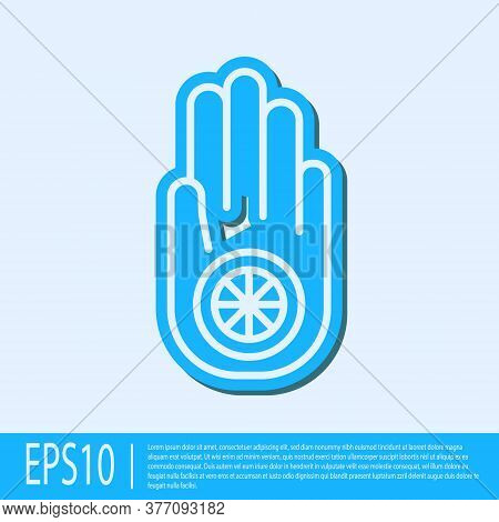 Blue Line Symbol Of Jainism Or Jain Dharma Icon Isolated On Grey Background. Religious Sign. Symbol
