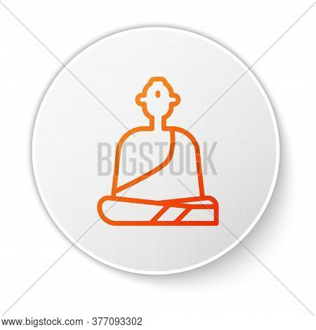 Orange Line Buddhist Monk In Robes Sitting In Meditation Icon Isolated On White Background. White Ci