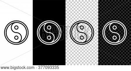 Set Line Yin Yang Symbol Of Harmony And Balance Icon Isolated On Black And White Background. Vector