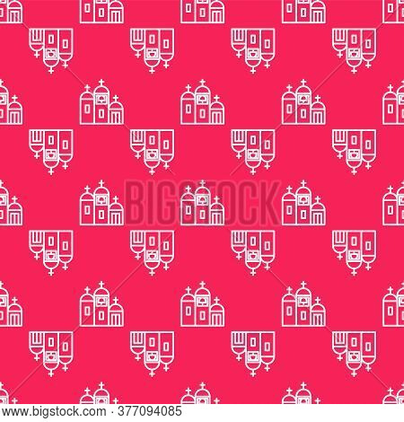 White Line Church Building Icon Isolated Seamless Pattern On Red Background. Christian Church. Relig