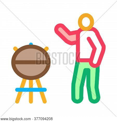 Human Cooking Bbq Icon Vector. Human Cooking Bbq Sign. Color Symbol Illustration