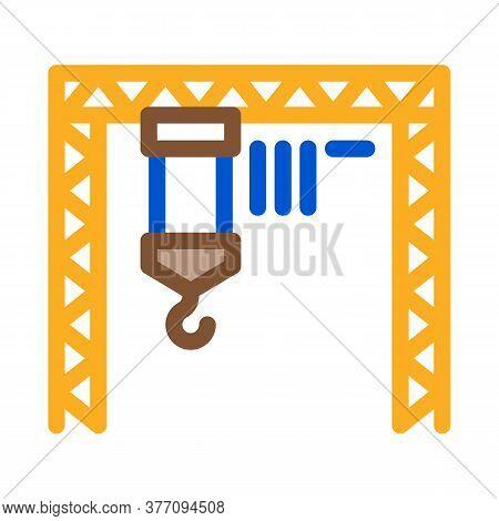 Industrial Crane Icon Vector. Industrial Crane Sign. Color Symbol Illustration