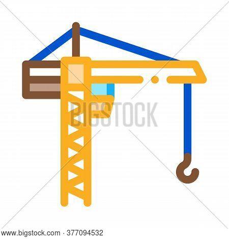 Engineering Crane Icon Vector. Engineering Crane Sign. Color Symbol Illustration