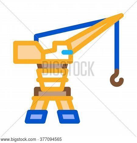 Harbor Crane Icon Vector. Harbor Crane Sign. Color Symbol Illustration