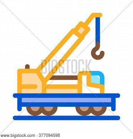 Railway Crane Icon Vector. Railway Crane Sign. Color Symbol Illustration