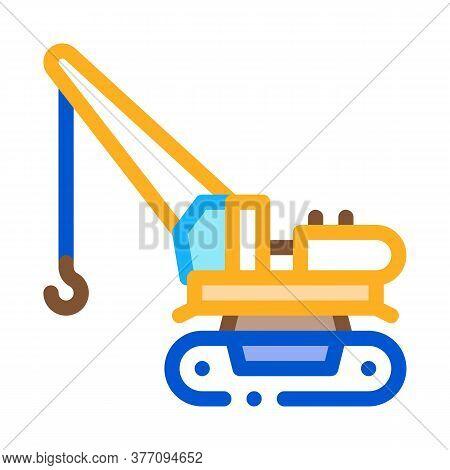 Crane Machine Icon Vector. Crane Machine Sign. Color Symbol Illustration