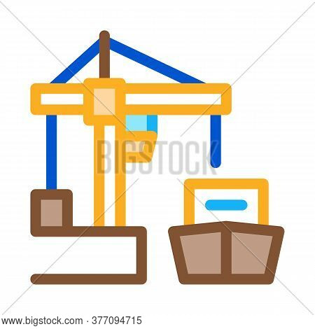 Port Crane And Ship Icon Vector. Port Crane And Ship Sign. Color Symbol Illustration