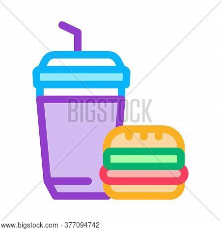Food Burger And Drink Cup Icon Vector. Food Burger And Drink Cup Sign. Color Symbol Illustration