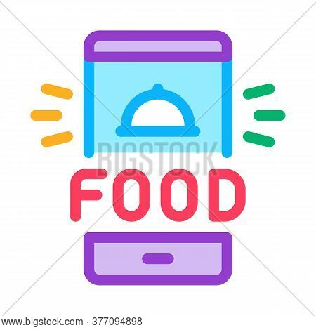 Food Delivery Phone Alarm Icon Vector. Food Delivery Phone Alarm Sign. Color Symbol Illustration