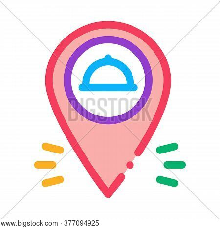 Food Delivery Gps Mark Icon Vector. Food Delivery Gps Mark Sign. Color Symbol Illustration