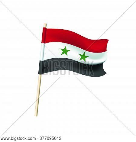 Syrian Arab Republic Flag (two Green Stars On Red, White, Black Stripes). Vector Illustration