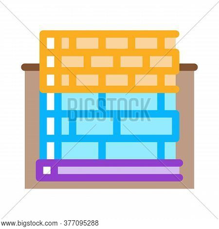Block Foundation Icon Vector. Block Foundation Sign. Color Symbol Illustration