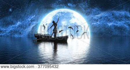 Woman Dancing In A Boat Against The Background Of The Moon And Dolphins, 3d Illustration
