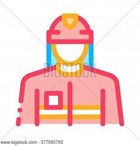 Fireman Profession Icon Vector. Fireman Profession Sign. Color Symbol Illustration