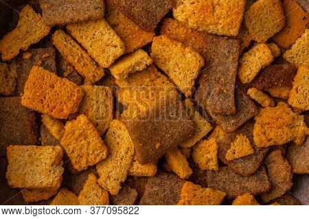 Close-up Of Crackers With , Snack For Beer And Kvass. Food Background Concept