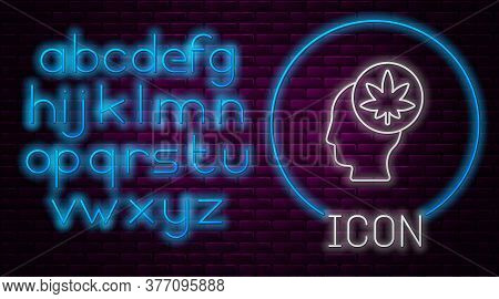 Glowing Neon Line Male Head In Profile With Marijuana Or Cannabis Leaf Icon Isolated On Brick Wall B
