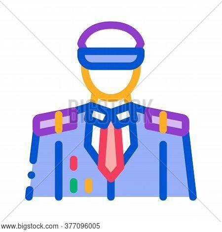 Captain Profession Icon Vector. Captain Profession Sign. Color Symbol Illustration
