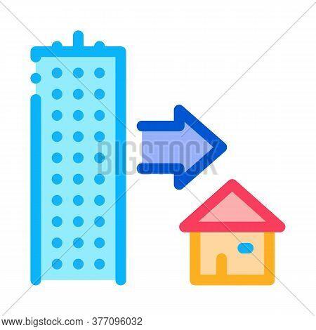 Skyscraper And House Icon Vector. Skyscraper And House Sign. Color Symbol Illustration