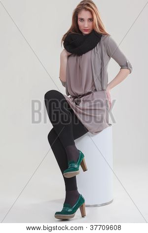 Young business woman in stylish outfit