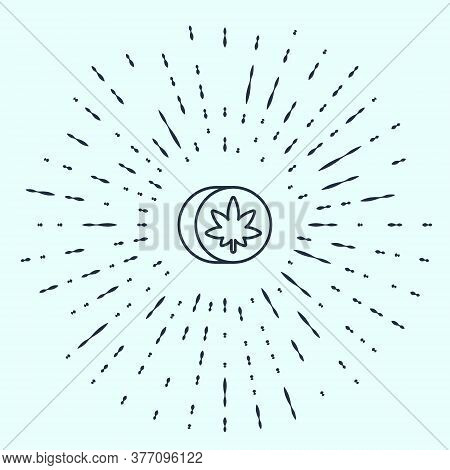 Black Line Herbal Ecstasy Tablets Icon Isolated On Grey Background. Abstract Circle Random Dots. Vec