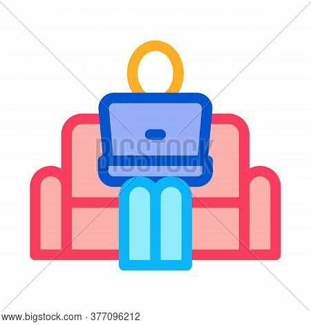 Remote Work On Home Couch Icon Vector. Remote Work On Home Couch Sign. Color Symbol Illustration