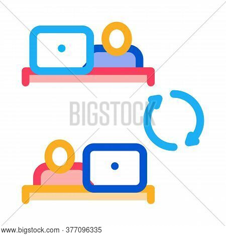 Internet Connection Employee Icon Vector. Internet Connection Employee Sign. Color Symbol Illustrati