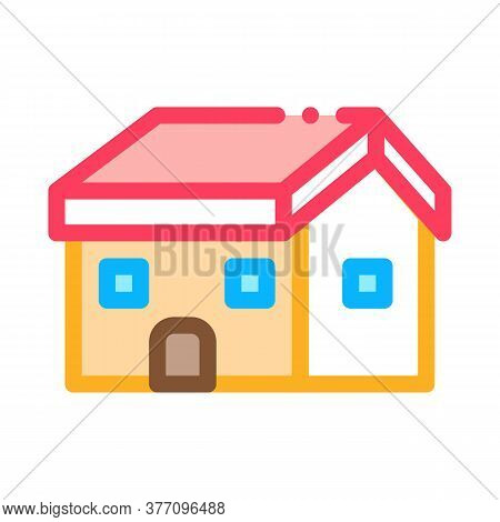 Building Fixed Roof Icon Vector. Building Fixed Roof Sign. Color Symbol Illustration
