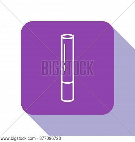 White Line Marijuana Joint, Spliff Icon Isolated On White Background. Cigarette With Drug, Marijuana