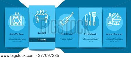 Bbq Barbecue Cooking Onboarding Mobile App Page Screen Vector. Bbq Fried Meat And Shrimp, Fish And B