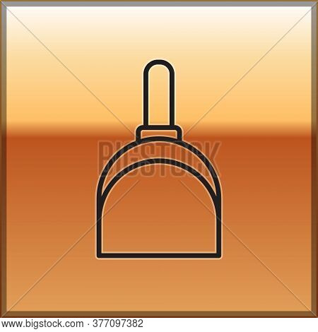 Black Line Dustpan Icon Isolated On Gold Background. Cleaning Scoop Services. Vector Illustration