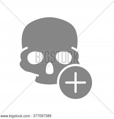 Skull With Plus Grey Icon. Bone Structure Of The Head, Cranium Symbol