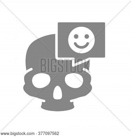 Skull With Happy Face In Speech Bubble Grey Icon. Bone Structure Of The Head, Cranium Symbol