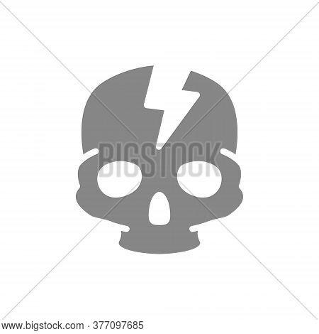 Skull With Acute Pain Grey Icon. Broken Cranium, Bone Structure Of The Head Symbol