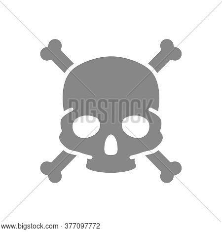 Skull With Crossbones Grey Icon. Warning Of Death, Poisonous Substances, Hazard Symbol