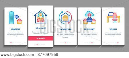 Remote Work Freelance Onboarding Mobile App Page Screen Vector. Work At Home, Internet Job And Onlin