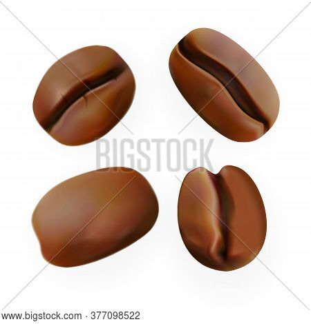 Coffee Bean Roast Drink Ingredient Set Vector. Collection In Different Side Coffee Grain Pile. Produ