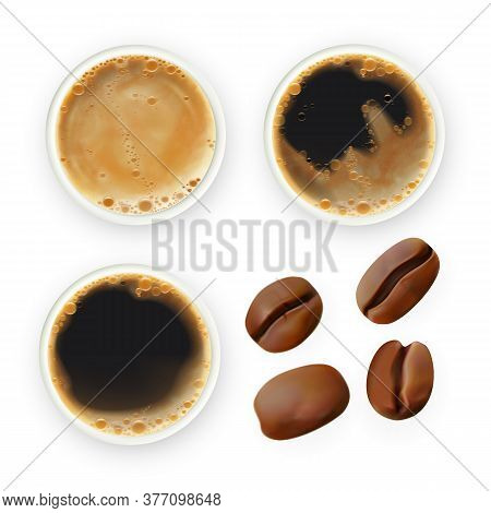 Coffee Bean And Brewed Drink Collection Set Vector. Roasted Agricultural Seeds And Foamy Energy Arom