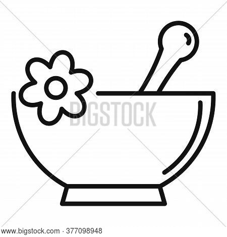 Bowl Homeopathy Icon. Outline Bowl Homeopathy Vector Icon For Web Design Isolated On White Backgroun