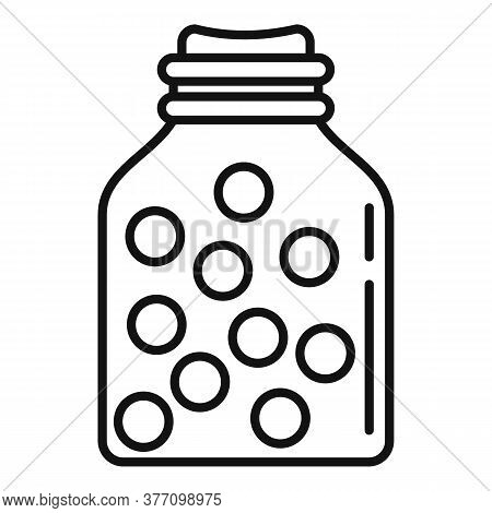 Eco Pills Jar Icon. Outline Eco Pills Jar Vector Icon For Web Design Isolated On White Background