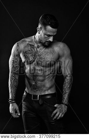 Beautiful Male Torso. Men Tattoo Casual Fashion. Muscular Bodybuilder Posing. Sexy Portrait Of Sport