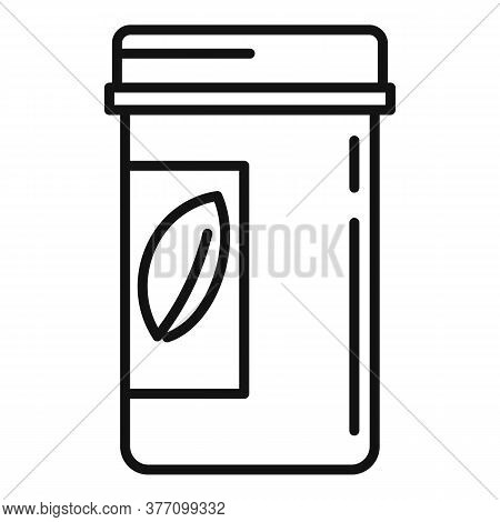 Cosmetic Pill Jar Icon. Outline Cosmetic Pill Jar Vector Icon For Web Design Isolated On White Backg
