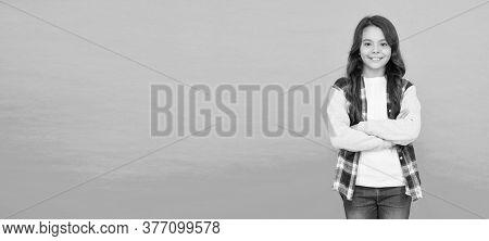 Studio Shot Of Glad Child. Childhood Happiness. Pleasant Emotions. Stylish Teen Girl Turquoise Backg